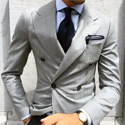 Picture of Grey double breasted two piece suit