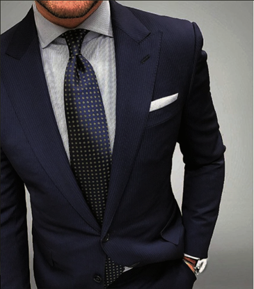 Picture of Navy blue pin-striped two-piece suit