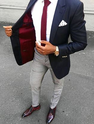 Picture of Slim fit navy and grey two-piece suit