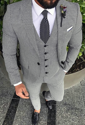 Picture of Dogtooth Three-Piece Suit