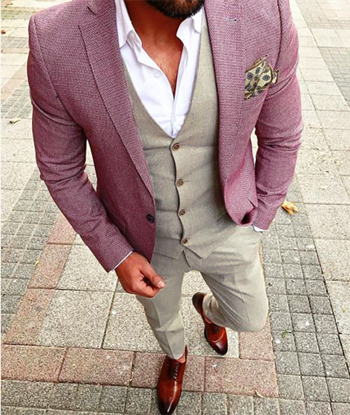 Picture of Red and Beige Mixed Fabric Three Piece Suit