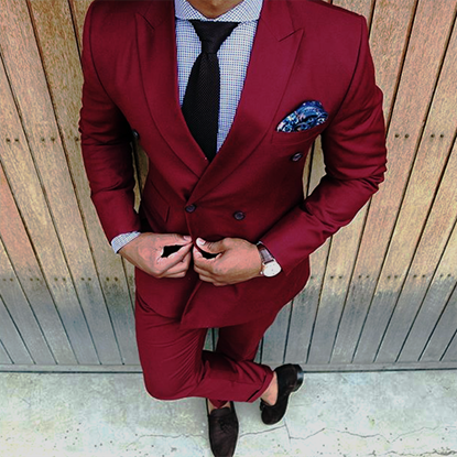 Picture of Maroon double-breasted two-piece suit